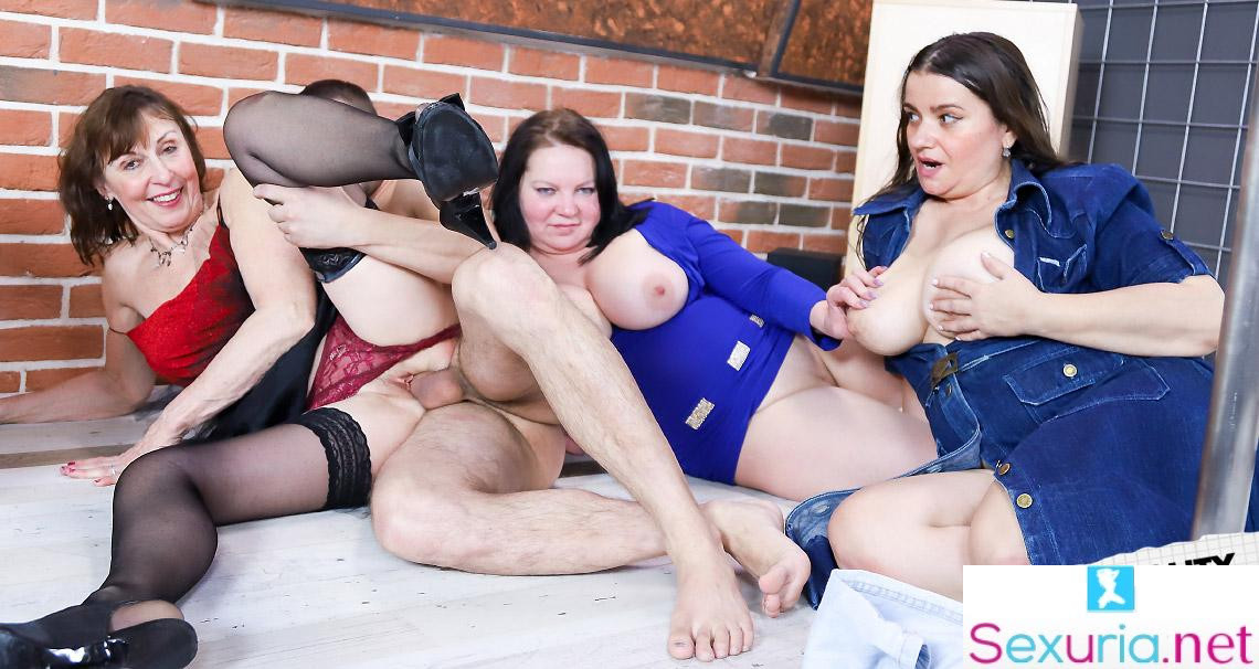 Grand Mams - Three Brunette Grannies Sharing One Cock